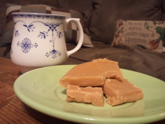 teacup,scottish tablet, tea mug, hot tea, candy, fudge