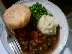 comfort food, scottish food, peas, groundbeef, mashed potatoes